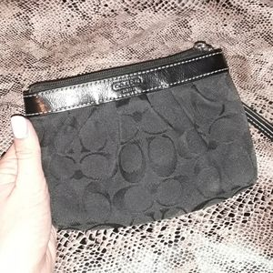 Black Coach Monogram Wristlet